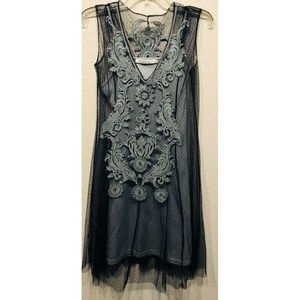 Solitaire Womens Blue Gray Dress Slip Size XS